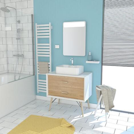 Pack esprit scandinave meuble vasque et miroir à led Bois