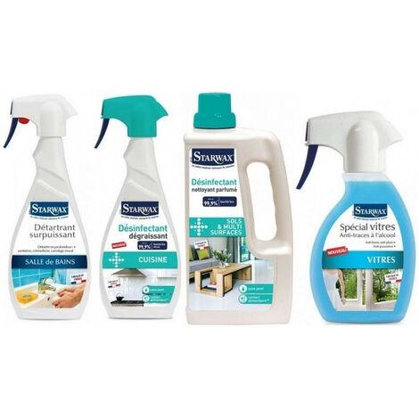 Pack essentiel Starwax: Détartrant surpuissant salle de bains + Désinfectant dégraissant cuisine + Désinfectant nettoyant parfumé + Nettoyant vitres anti-traces