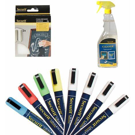 Pack feutres craie effaçables 2-6 mm pour décoration ardoises menu, vitrine - Hôtel, restaurant, magasin - blanc, bleu, rouge, jaune, vert - blanc, bleu, rouge, jaune, vert