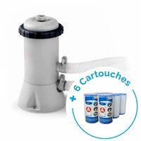 Pack Filtre épurateur de piscine INTEX 3.8m³/h + 6 cartouches de filtration type A