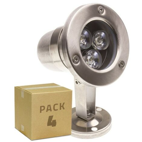 Pack Foco LED Inox de Superficie 12V 3W (4 un)