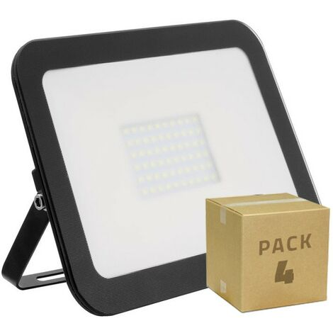 Pack Foco LED Slim Cristal 100W Negro (4 un)
