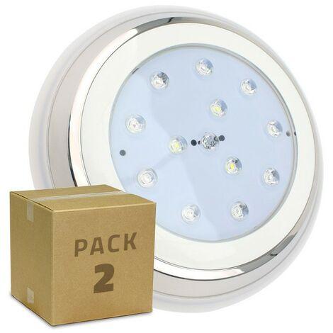 Pack Foco Piscina LED Inox Superficie 24W (2 un) Blanco Cálido 3000K - Blanco Cálido 3000K