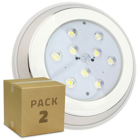 Pack Foco Piscina LED Inox Superficie 9W (2 un) Blanco Cálido 3000K