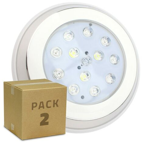 Pack Foco Piscina LED Inox Superficie RGBW 12W (2 Un) RGBW