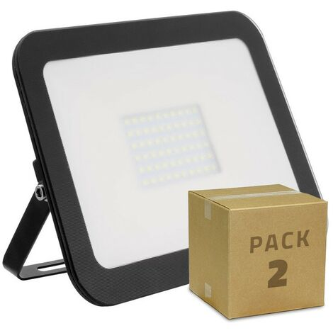 Pack Foco Proyector LED Slim Cristal 100W Negro (2 un)