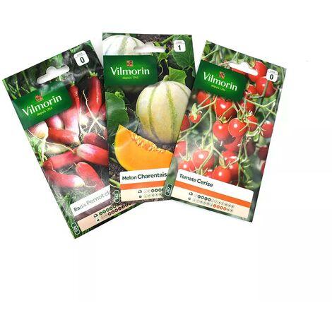Pack fraicheur de 3 sachet de graines - Tomate cerise - Melon Charentais - Radis Pernot