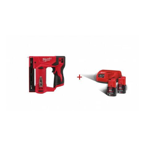Pack Grapadora M12 T50 ver-0 + Kit 2 baterias M12B2 + Cargador C12C Milwaukee