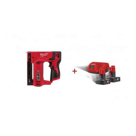 Pack Grapadora M12 T50 ver-0 + Kit 2 baterias M12B4 + Cargador C12C Milwaukee