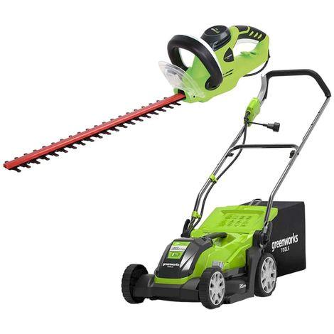 Pack GREENWORKS Cortasetos eléctrico 35 cm 1000W GLM1035 - Cortasetos eléctrico 56 cm 500W GHT5056