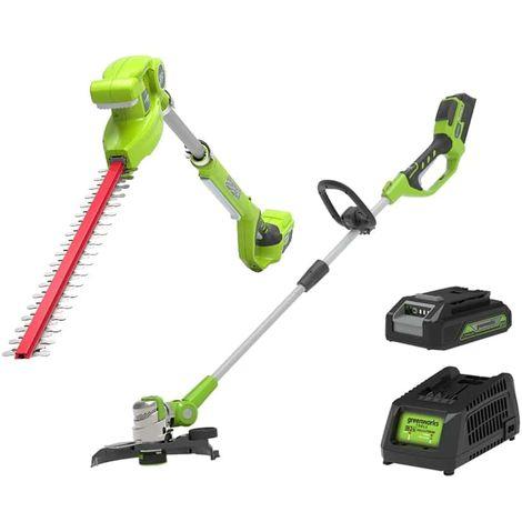 Pack GREENWORKS Edge trimmer 25-30cm 24V - G24LT30MK2 - Hedge trimmer 51 cm 24V - G24PH51 - 1 battery 2.0 Ah - 1 charger