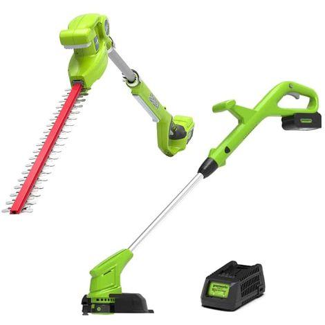 Pack GREENWORKS Edge trimmer 30cm 24V - G24LTK2 - Hedge trimmer 51cm 24V - G24PH51 - 1 battery 2.0 Ah - 1 charger