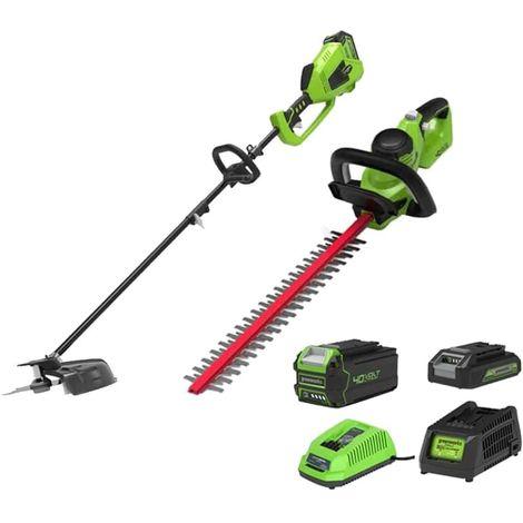 Pack GREENWORKS Edge trimmer 40cm 40V - GD40BCK4 - Hedge trimmer 61cm 40V - G40HT61K2 - 2 battery 4.0 Ah and 2.0 Ah - 2