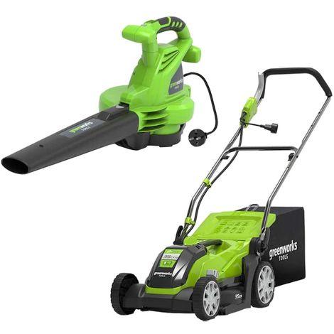 Pack GREENWORKS Electric mower 35 cm 1000W GLM1035 - Electric blower 2800W GBV2800