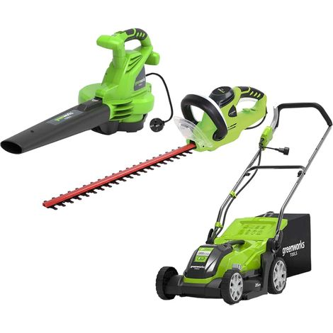 Pack GREENWORKS Electric mower 35 cm 1000W GLM1035 - Electric blower 2800W GBV2800 - Electric hedge trimmer 56 cm 500W G