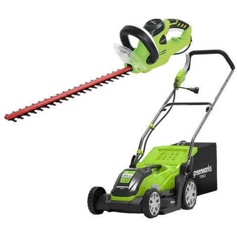 Pack GREENWORKS Tondeuse électrique 35 cm 1000W GLM1035 - Taille-haies électrique 56 cm 500W GHT5056