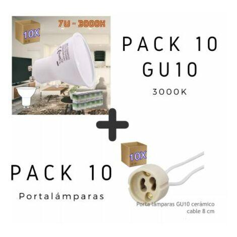 Pack GU10 + Portalámparas