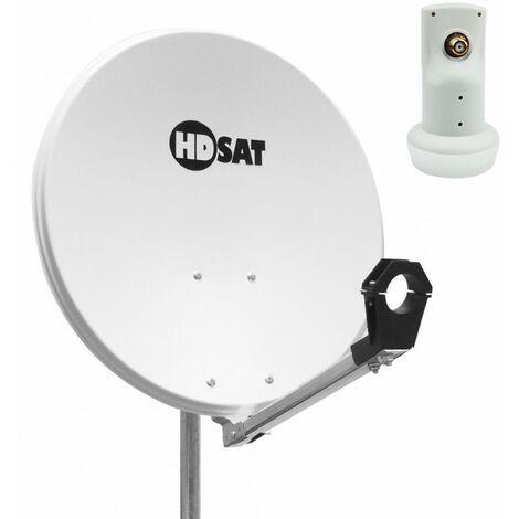 "main image of ""Pack HDSAT Parabole satellite acier 60cm + LNB Single HD 4K - Blanc"""