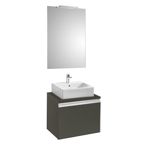 Pack HEIMA 600 meuble+miroir+applique-pour 1 vasque à poser-Blanc brillant