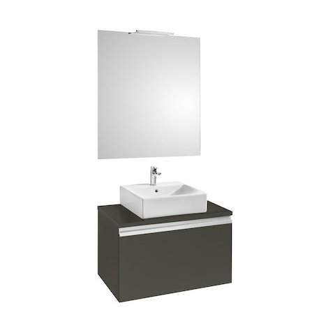 Pack HEIMA 800 meuble+miroir+applique-pour 1 vasque à poser-Blanc brillant
