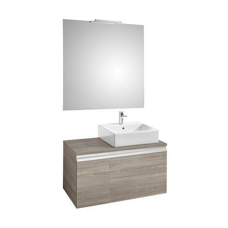Pack HEIMA 900 meuble+miroir+applique-pour vasque à droite-Blanc brillant