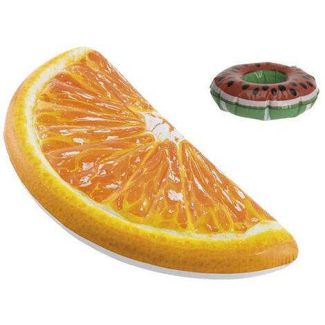 Pack Inflatable beach mattress orange quarter 178x85 cm - Floating glass holder watermelon model