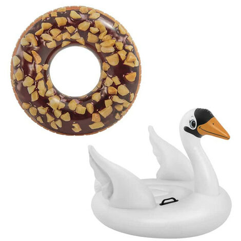 Pack Inflatable chocolate donut inflatable buoy 114 cm diameter - Swan inflatable buoy 130x102x99 cm