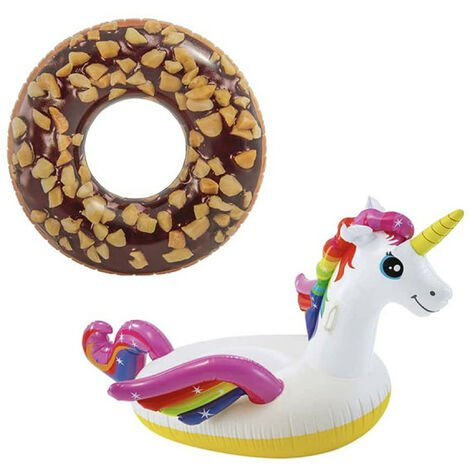 Pack Inflatable Chocolate Donut Inflatable Buoy 114 cm diameter - Unicorn Inflatable Buoy 201x140x97 cm