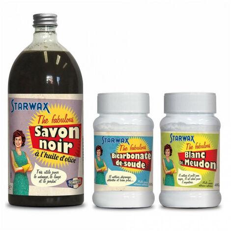 """Pack Je fabrique ma pierre blanche de nettoyage"""" : Savon noir + Bicarbonate de soude + Blanc de meudon - The Fabulous STARWAX"""""""