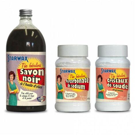 """Pack Je fabrique mes tablettes de lave vaisselle"""" : Savon noir + Percarbonate de sodium + Cristaux de soude - The Fabulous STARWAX"""""""