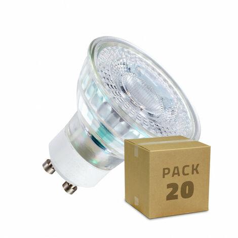 Pack Lámparas LED GU10 SMD Cristal 7W (20 un) Blanco Neutro 3800K - 4200K . - Blanco Neutro 3800K - 4200K