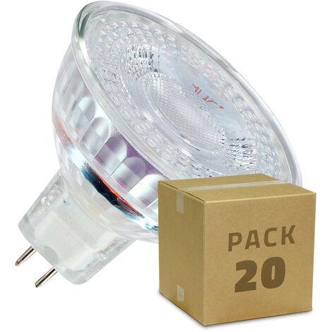 Pack Lámparas LED GU5.3 MR16 12V SMD Cristal 38º 5W (20 un)