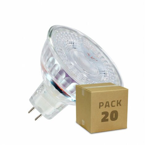 Pack Lámparas LED GU5.3 MR16 12V SMD Cristal 38º 5W (20 un)