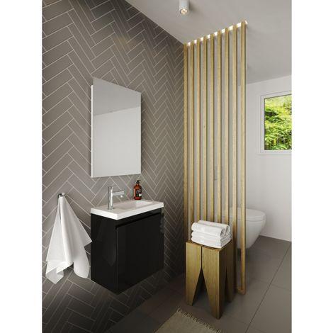 Pack lave mains avec miroir Porto Noir brillant - Marque allibert