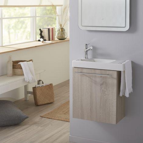 Pack lave mains Chene blanchi caledonia avec lave mains porte serviette et robinetterie eau froide