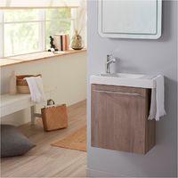 Pack lave mains chêne colorado avec lave mains porte serviette et robinetterie eau froide