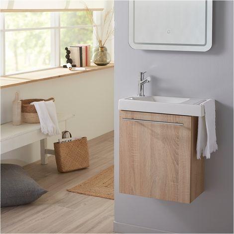 Pack lave mains Chêne Oak bordolino avec lave mains porte serviette et robinetterie eau froide