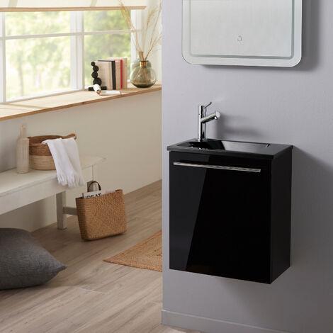 Pack lave mains complet Hamac noir brillant + Lave mains noir + mitigeur eau chaude