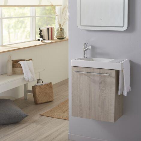 Pack lave mains couleur chene blanchi caledonia avec lave mains et porte serviette integre + mitigeur eau chaude/eau froide