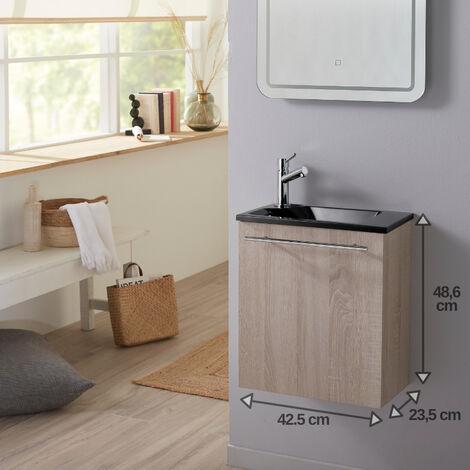 Pack lave mains suspendu caledonia avec lave mains noir et robinet eau froide