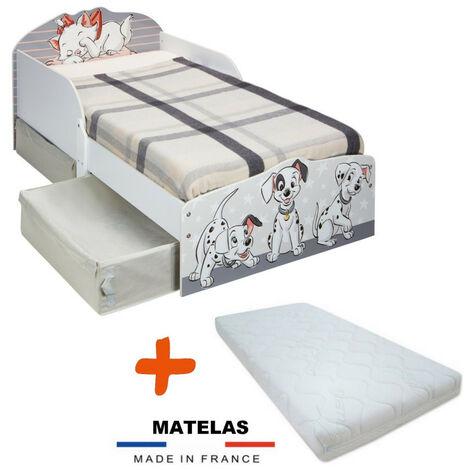 Pack Lit enfant Disney 101 Dalmatiens et Marie des Aristochats avec deux tiroirs de rangement = Lit+Matelas
