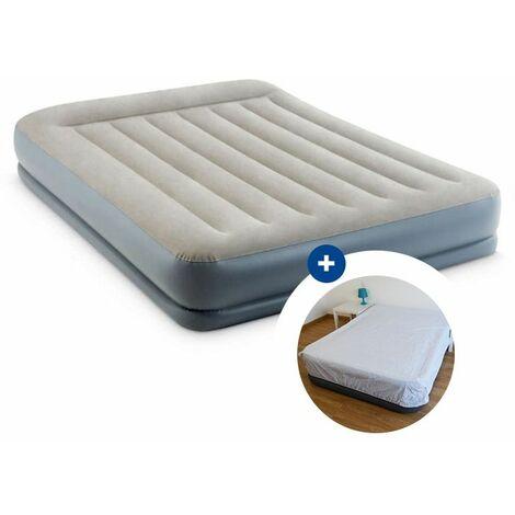 Pack Lit gonflable électrique Intex Pillow Rest Mid-Rise Fiber-Tech 203 x 152 x 33 cm + drap housse
