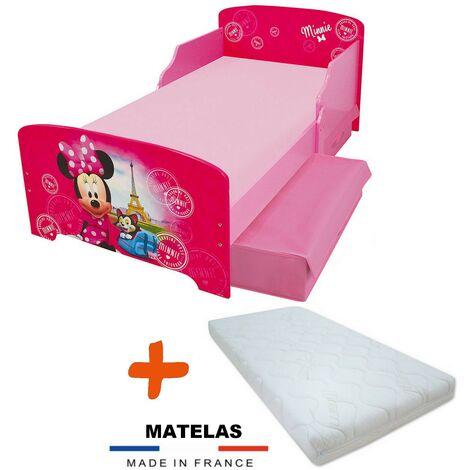 Pack Lit + Matelas Disney Minnie à Paris = Lit + Sommier +Matelas + 2 Tiroirs de rangement - 70x140 cm