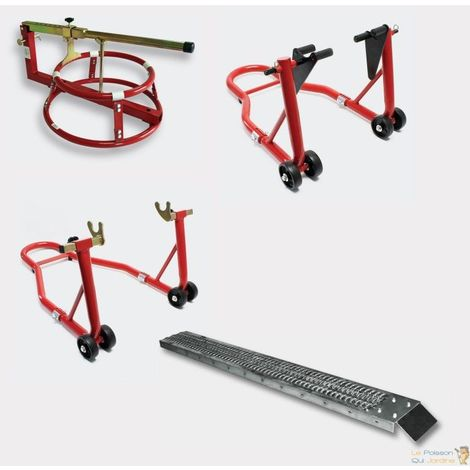 Pack lot béquilles d'atelier, démonte pneu, rampe droite pour piste moto