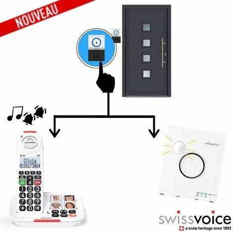 Pack Maison: Téléphone Sans fil XTRA2155 + Sonnette interphone DOORBELL8155 + Sonnerie Flash Ringer - blanc