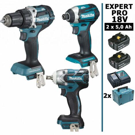 Pack Makita EXPERT PRO BL Motor 18V 3 machines 2 batt 5Ah Perceuse DDF484 + Visseuse à chocs DTD154 + Boulonneuse DTW285 sans charbon avec Makpac