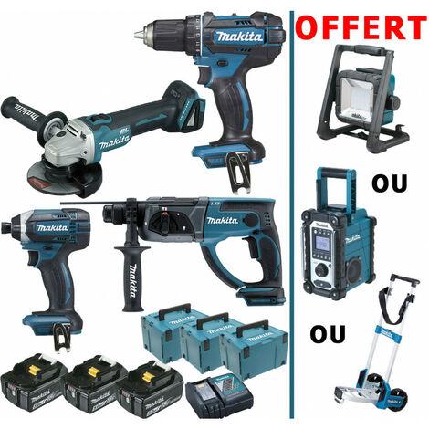 Pack Makita immanquable 18V 5Ah: DDF482 + DGA504 + DHR202 + DTD152 + machine offerte + 3 batt 5Ah + 3 Makpac - plusieurs modèles disponibles