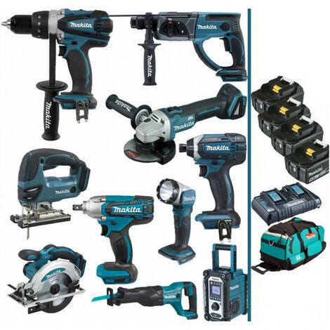 Pack Makita Power PRO 10 outils 18V: Perceuse DDF458 + Perfo DHR202 + Meuleuse DGA504 + Boulonneuse DTW190 + Visseuse à choc DTD152 + Scie sauteuse DJV180 + Scie circulaire DSS610 + Scie récipro DJR186 + Radio DMR108 + Lampe DEADML802 + 4 batt 5Ah + sac M