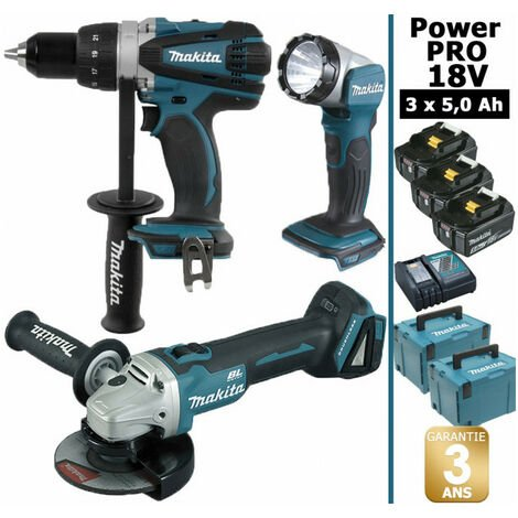 Pack Makita Power PRO 18V: Perceuse 91Nm DDF458 + Meuleuse 125mm DGA504 + Lampe Torche LED 180lm + 3 batt 5Ah + 2 Coffrets Makpac MAKITA