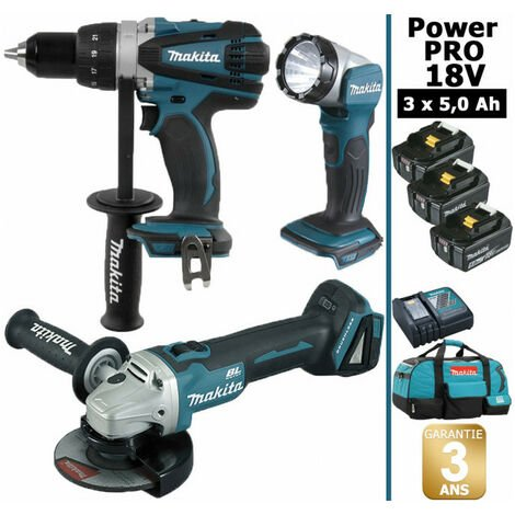 Pack Makita Power PRO 18V: Perceuse 91Nm DDF458 + Meuleuse 125mm DGA504 + Lampe Torche LED 180lm + 3 batt 5Ah + sac MAKITA